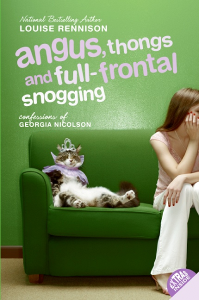 Louise Rennison, Green, Couch, Cat, Crown, Girl, Young Adult, Humour, funny, Romance, Friendship, Angus Thongs and Full-Frontal Snogging