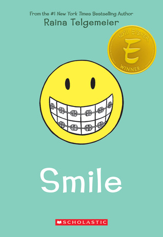 Smile, Emoji, Brace, Green, Raina Telgemeier, Growing Up, Sister, Brother, Braces, Graphic Novel, Young Adult, Children's Books