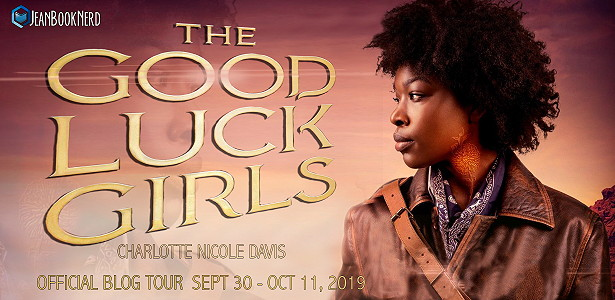 Good Luck Girls, Charlotte Nicole Davis, Brown/Reddish Background, Leather Jacket, Curls, Tattoo in Neck, Staring in the distance