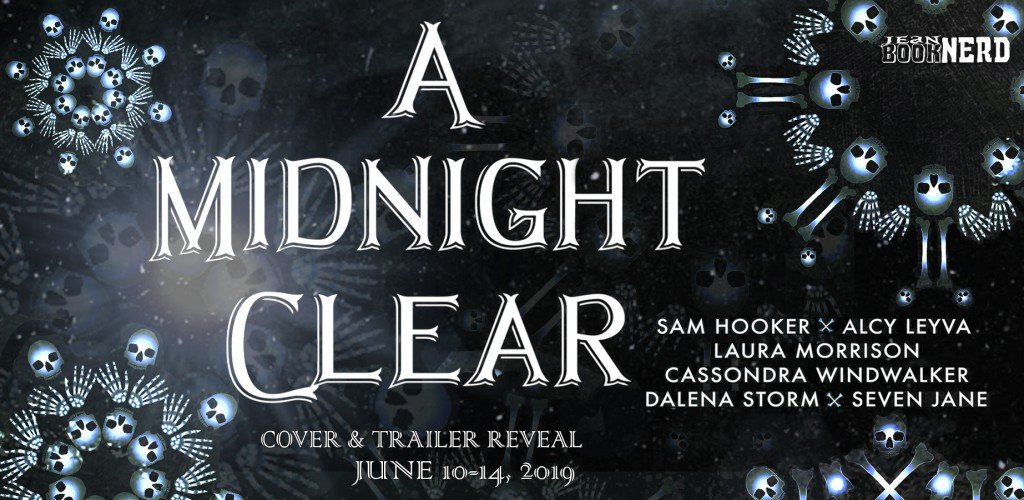 A Midnight Clear, Sam Hooker, Alcy Leyva, Cassondra Windwalker, Larua Morrison, Dalena Storm, Seven Jane, Cover Reveal Banner, Dark/Black Cover, Snowflakes