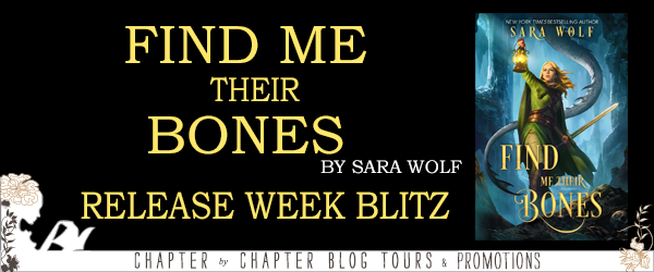 Find Me Their Bones, Sara Wolf, Yellow Letters, Book Cover, Black, Banner