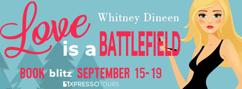 Love is a Battlefield, Romance, Pine Trees, Trees, Red Font, Girl, Blonde, Black Dress, Camping, Interfering Moms, Humour, Comedy, Whitney Dineen