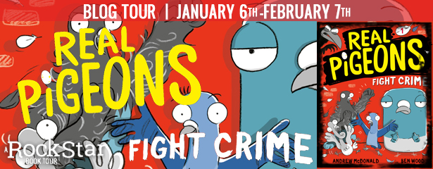 Real Pigeons Fight Crime, Pigeons, Humour, Children's Books, Red, Andrew McDonald, Ben Woods, Banner