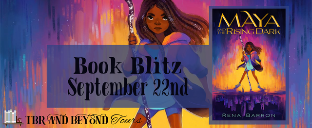 TBR and Beyond Tours, Maya and the Rising Dark, Fantasy, Rena Barron, Children's Book, Tour Banner, Girl, Bow, Yellow, Purple, Yellow Letters,