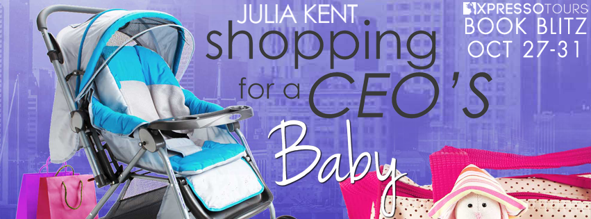 Julia Kent, Shopping for a CEO's Baby, Baby carriage, bags, toy, cityscape, purple, pink, blue, Romance, Humour