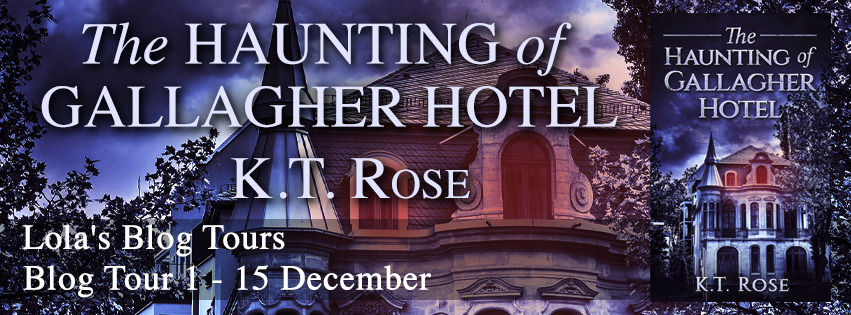 The Haunting of Gallagher Hotel, K.T. Rose, Building, Blue, Trees, Red, Turret, Horror, Haunting, Ghosts, Survival