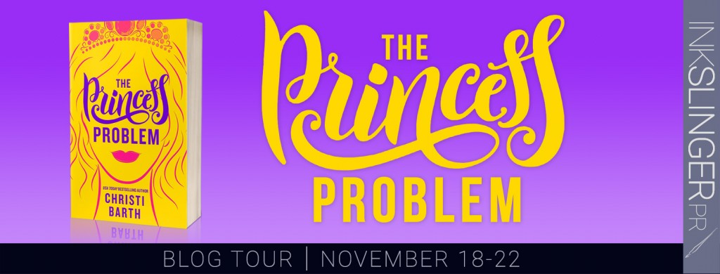 Purple, Banner, Cover, Yellow Letters, Yellow, Lips, Crown, Face, Christi Barth, The Princess Problem