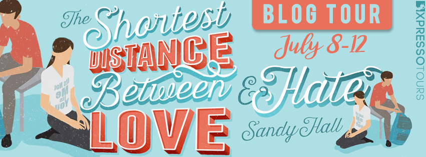The Shortest Distance Between Love & Hate, Blue, Orange Letters, Sandy Hall, Banner