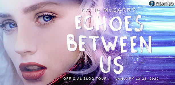 Banner, Young Adult, Contemporary, Romance, Echoes Between Us, Katie McGarry, Blue, Purple, White Letters, Face, Girl, Purple Hair