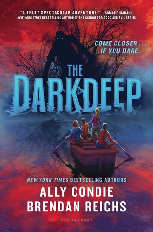 The Darkdeep, Ally Condie, Red, Blue, Blue Letters, Boat, Boys, Girls, Island, Fog, Horror