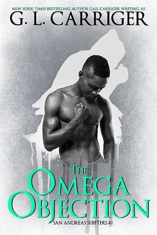 The Omega Objection, Wolves, Shifters, LGBT, Romance, Guy, Sexy, Naked Torso, Green Letters, Gail Carriger, San Andreas Shifters, Fantasy, Cute,