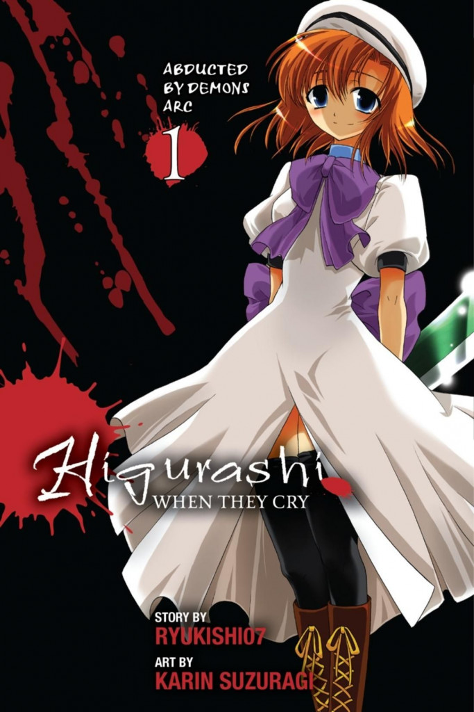 Higurashi no Naku Koro Ni, White Dress, Purple Ribbon, White Beret, Hatchet, Dark, Blood, Manga, Horror, Orange Hair