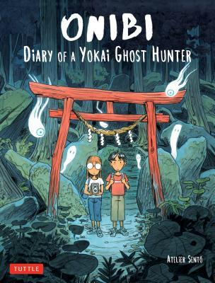 Onibi: Diary of a Yokai Ghost Hunter, Girl, Boy, Shrine, Tori, Ghosts, Stones, Trees, Japan, Travelogue, Travelling, Graphic Novels, Paranormal, Ghosts, Cécile Bruin, Olivier Pichard