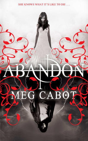 Abandon, Meg Cabot, Young Adult, Fantasy, Paranormal, Two sides, Boy and Girl Facing Each Other, Lots of red