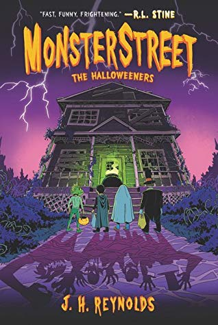 Monsterstreet, The Halloweeners, J.H. Reynolds, Purple Cover, Lightning, Scary House, Shadows