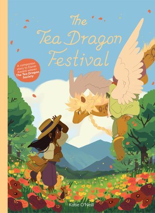 Tea Dragon Festival, Colourful Cover, Dragon, Flowers, Forests, Mountain, Sky, Katie O'Neill, Graphic Novel, Magic