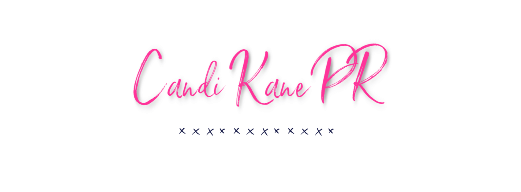 Candi Kane PR, Banner, Pink Letters, White background