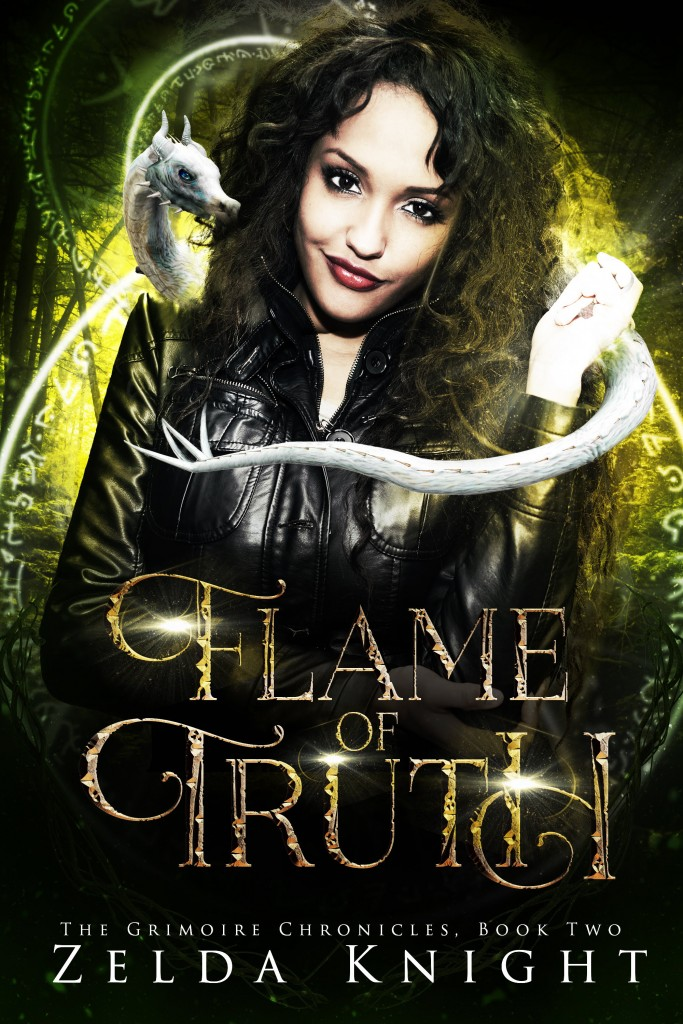 Zelda Knight, White Dragon, Green/Yellow Cover, Woman, Leather Jacket, FLAME OF TRUTH (The Grimoire Chronicles #2)