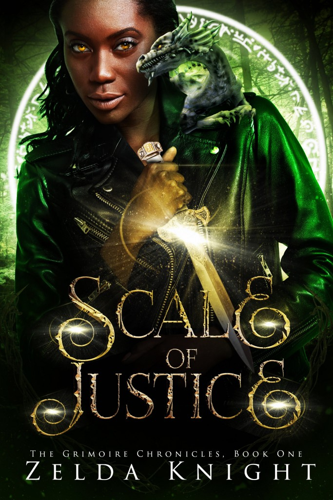 Zelda Knight, Woman, Dragon, Sword, Green, SCALE OF JUSTICE (The Grimoire Chronicles #1)