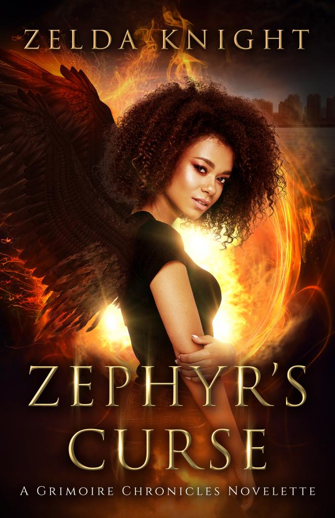 ZEPHYR'S CURSE (The Grimoire Chronicles 0.5), Zelda Knight, Angel, Black Wings, Fire, Woman