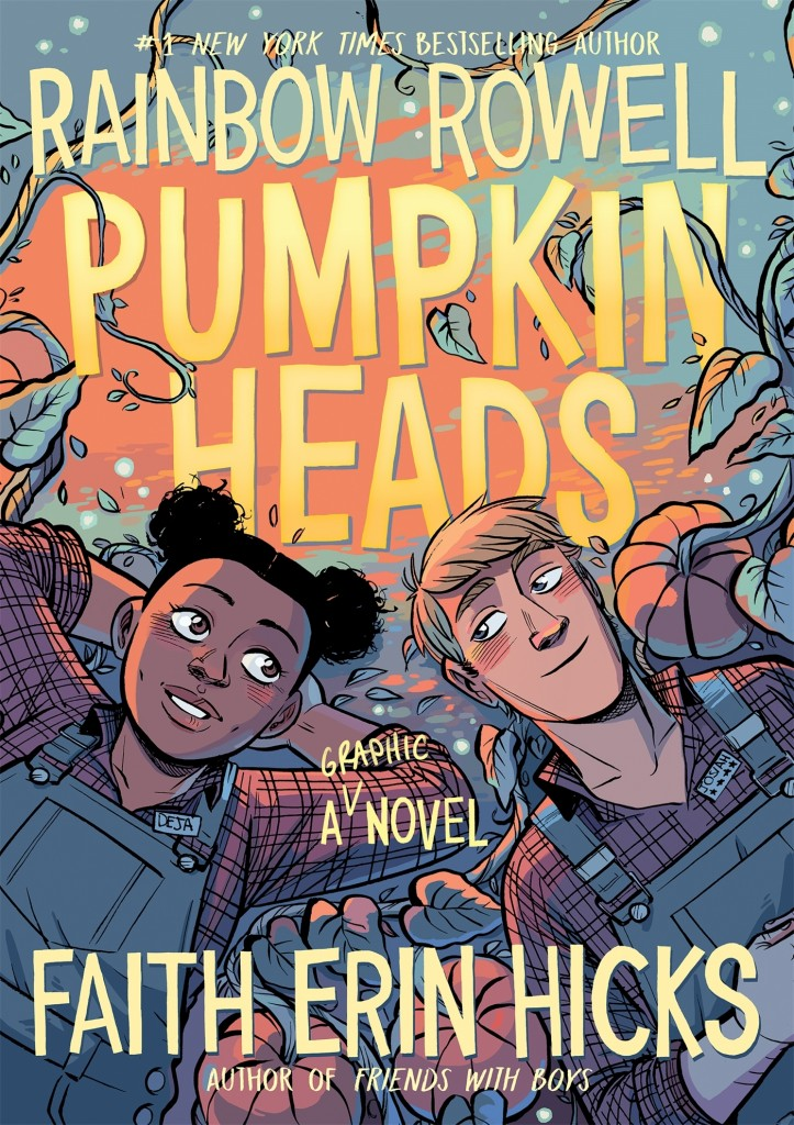 Pumpkinheads, Faith Erin Hicks, Rainbow Rowell, Orange, Pumpkins, Friendship, Man, Woman, Looking at each other, Graphic Novel