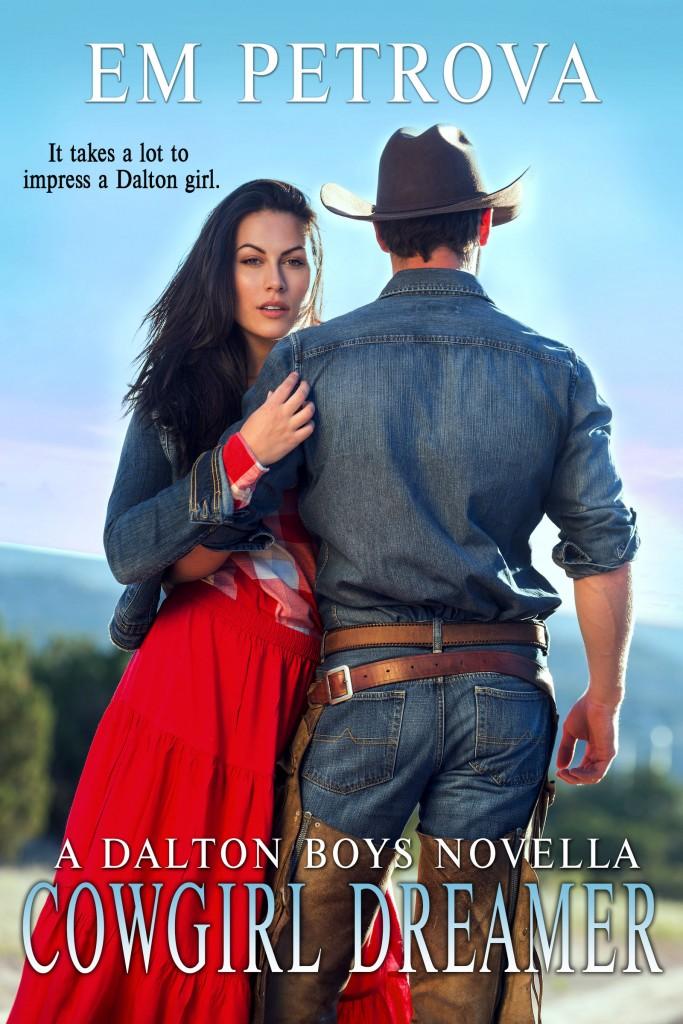 Cowgirl Dreamer, Em Petrova, Red Dress, Cowboy, Romance, Cover, Blue Sky