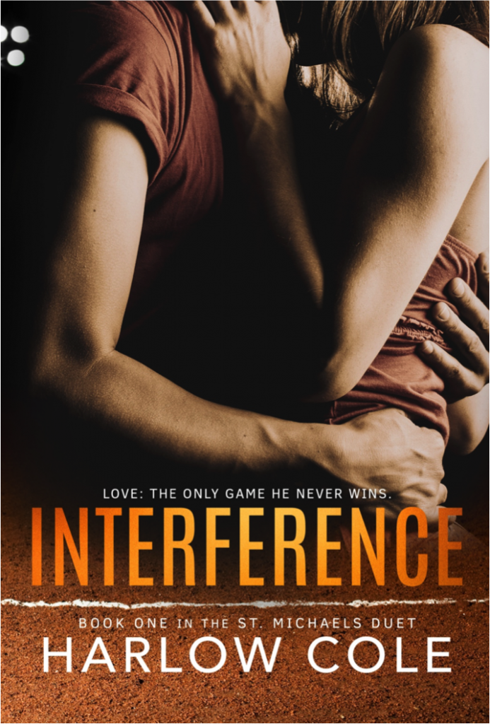 Hugging, Kissing, Two People, Orange Title, Dark cover, Interference, Harlow Cole, Romance, Sports