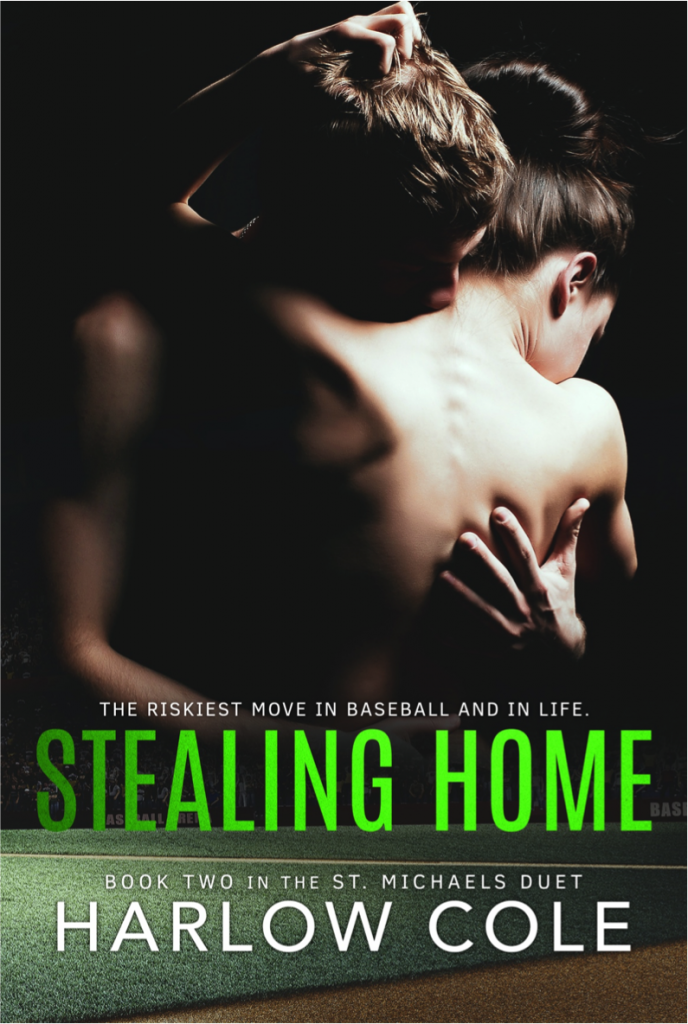 Stealing Home, Hugging, Naked Back, Dark Cover, Green TItle, Romance, Harlow Cole, Sports