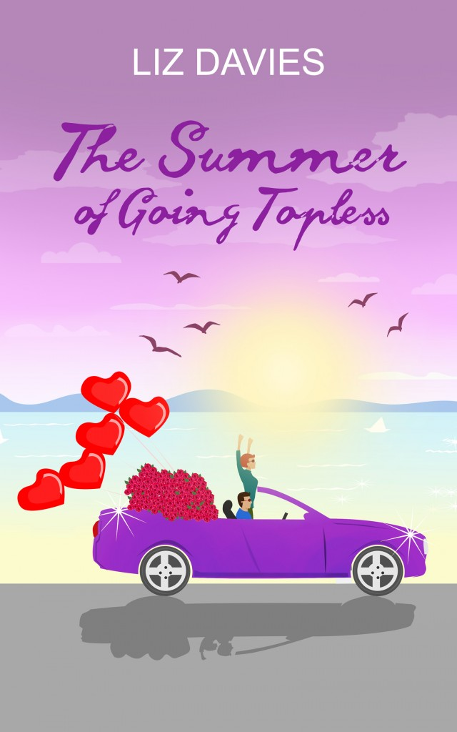 Sunset, Sea, Purple, Convertible, roses, hearts, romance, The Summer of Going Topless, Liz Davies, Cover