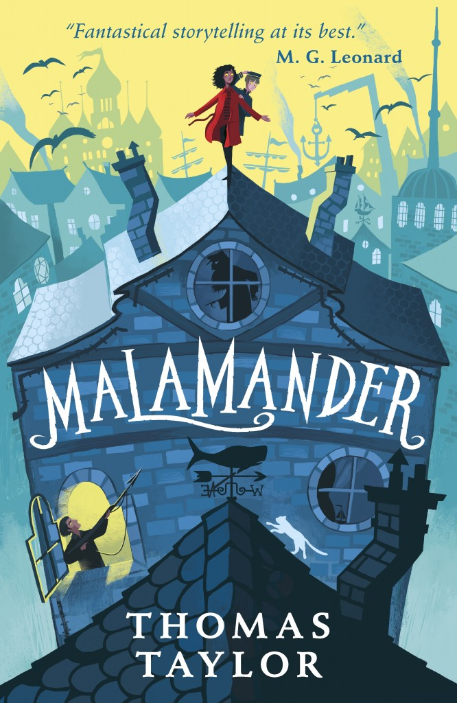 Malamander, Two People on Roof, Blue Building, Yellow Sky, Magic, Children's Books, Thomas Taylor, George Ermos