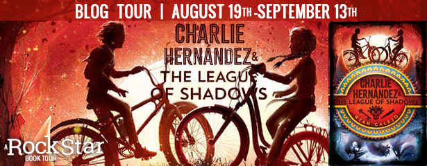 CHARLIE HERNANDEZ AND THE LEAGUE OF SHADOWS, Red, Bicycles, Banner, Book cover, Children's Books, Magic, Legends, Myths