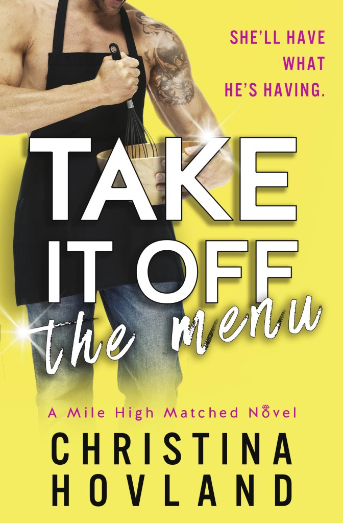 Take it off the menu, Yellow Cover, Guy in Apron, Bare Arms, Romance, Christina Hovland