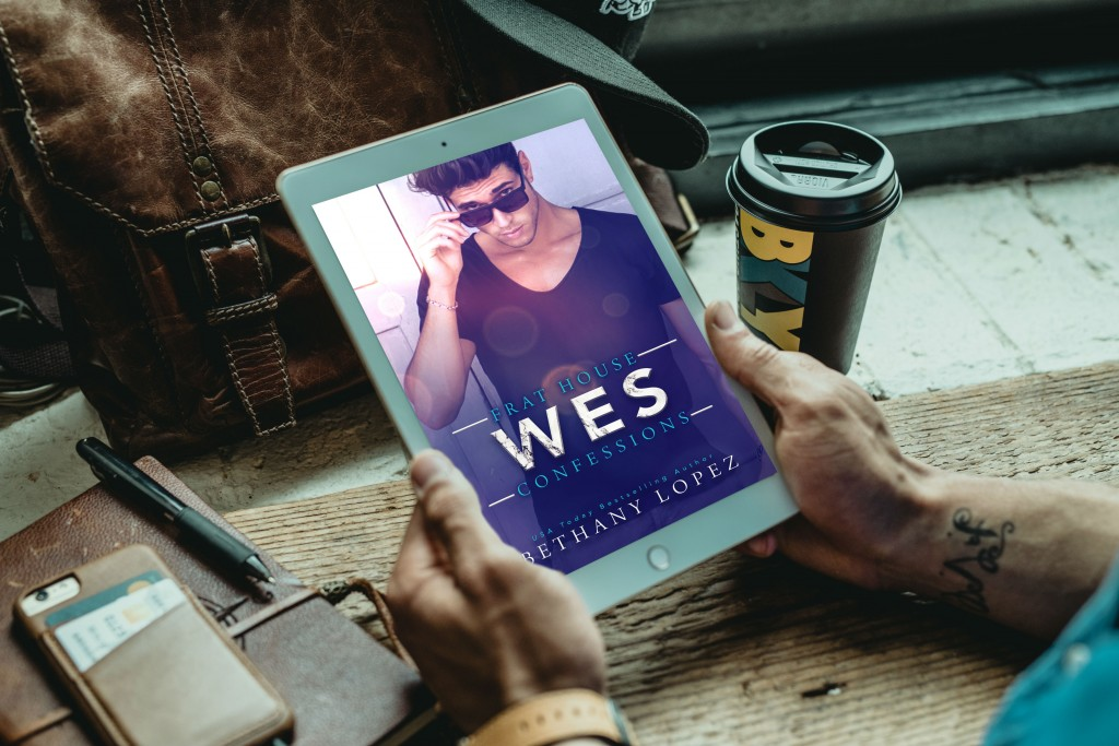 Frat House Confessions: WES, Bethany Lopez, Purple, Sunglasses, Black Shirt, Kindle, Coffee