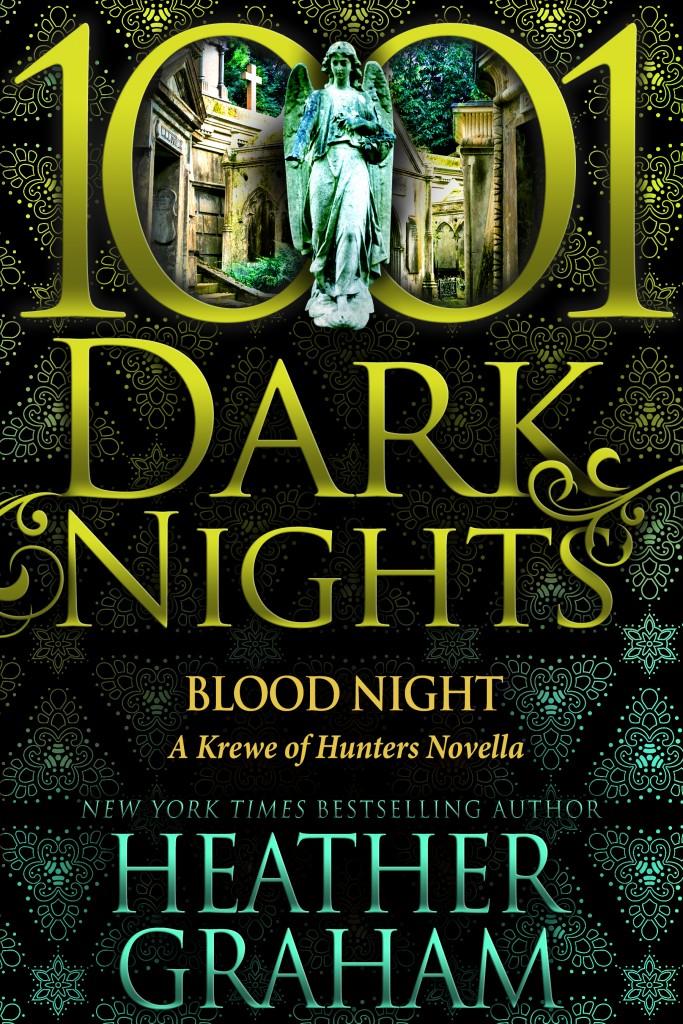 1001 Dark Nights, Heather Graham, Blood Night, Golden Letters, Statue, Dark, Cover