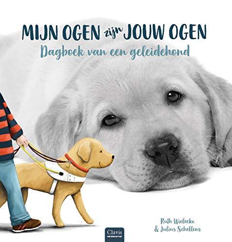 Mijn ogen zijn jouw ogen, Ruth Wielockx, Julius Schellens, Dog, Labrador, Cute, Gray, Illustration, Blue Letters