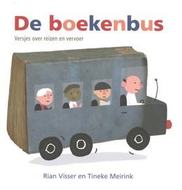 Tineke meirink, poems, bus, people, wheels, colourful letters,De boekenbus, Rian Visser,