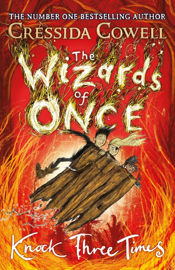 Knock Three Times, The Wizards Of Once, Two Boys, Girl, Red, Orange, Door, Cover, Children's Book
