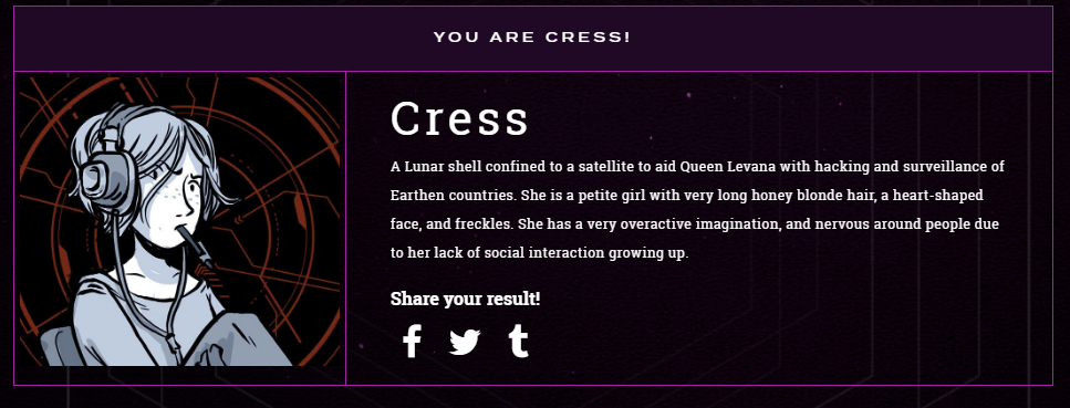 Cress, Lunar Chronicles, Marissa Meyer, Quiz, Result
