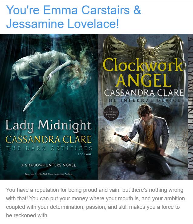 Shadowhunters, Cassandra Clare, Result, Quiz