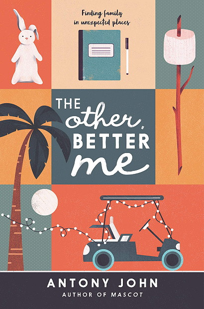 The Other Better Me, Young Adult, Antony John, Orange, Yellow, Gray, Dots, Golf Cart, Marshmallow, Palmtree, Bunny Plushie