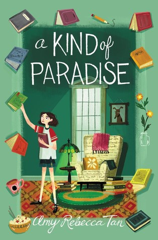 A Kind of Paradise, Green, Books, Armchair, Red Carpet, Green Circle Carpet, Lamp, Painting, Flower, Food, Green, Amy Rebecca Tan, Girl