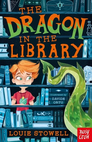 The Dragon in the Library, Louie Stowell, Davide Ortu, Children's Books, Girl, Bookshelves, Books, Dragon tail, books, Red Shirt, Necklace, Orange Hair, Magic, Orange/Green Letters