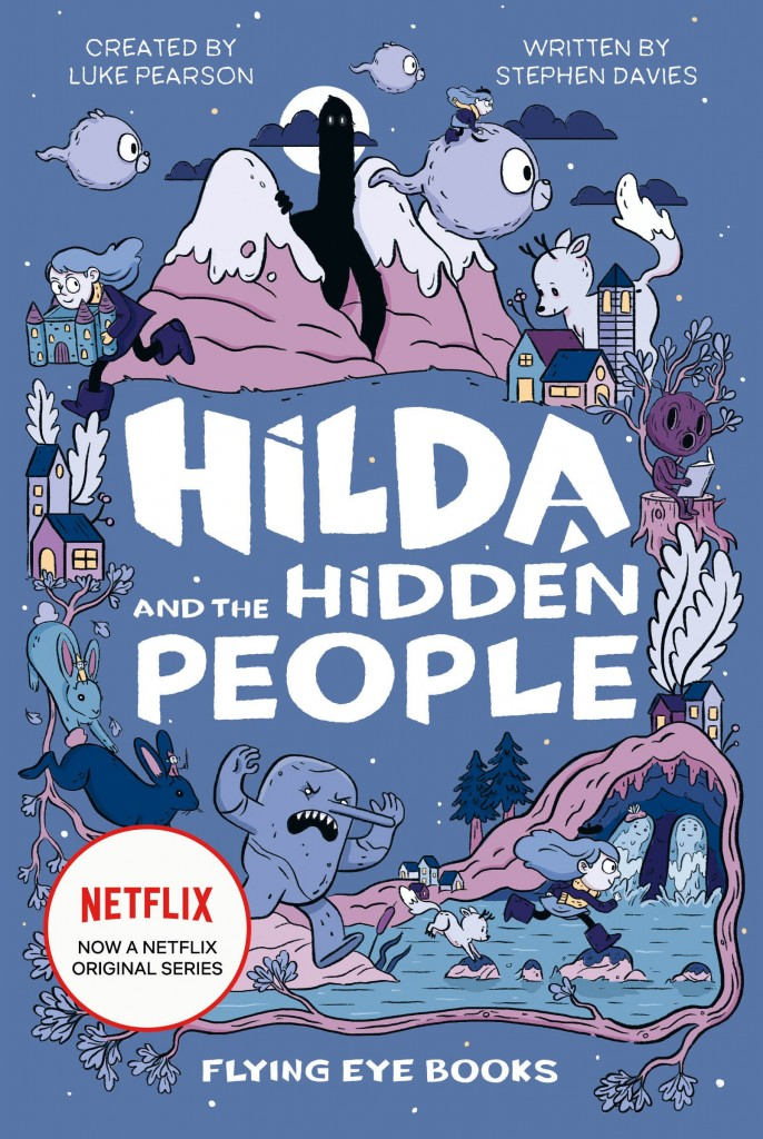 , Houses, Bunnies, Plants, Waterfalls, Twig, Castle, Children's Book, Hilda, Stephen Davies , Purple, Blue, White Letters, Girls, Boys, Trolls, Mountains, Giants, Running, Hilda and the Hidden People,