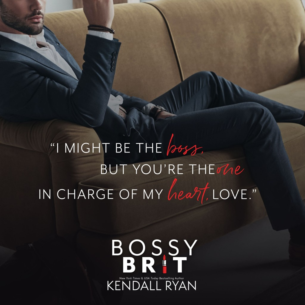 Kendall Ryan, Couch, Suit, Lying Down, Teaser, Red/White Letters, Bossy Brit, Romance, Black, Man