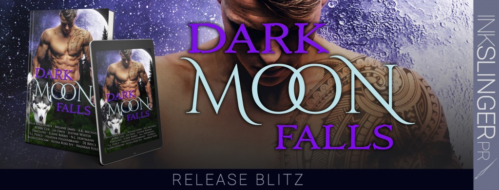 Dark Moon Falls Anthology, Many Authors, Purple, Wolf, Sexy, Half-naked man, Abs, Muscles, Moon, Forest, Banner