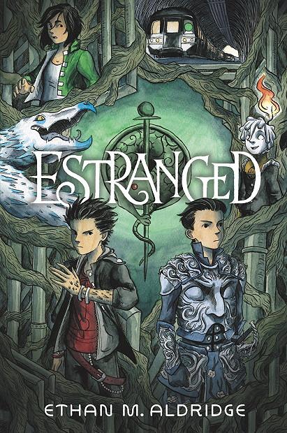 Estranged, Ethan M. Aldridge, Two Boys, Armour, Girl, Trees, Sword, Symbol, Dragon, Tram, Green, Cover, Graphic Novel, Children's Books