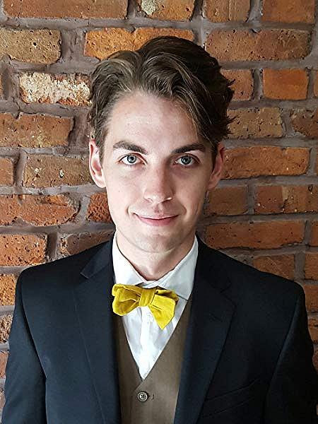 Ethan M. Aldridge, Author, Photograph, Man, Bowtie, Yellow, Suit, Bricks