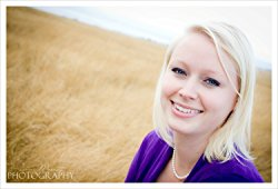 Keary Taylor, Author, Photograph, Field, Purple Shirt, Necklace, Blonde Hair
