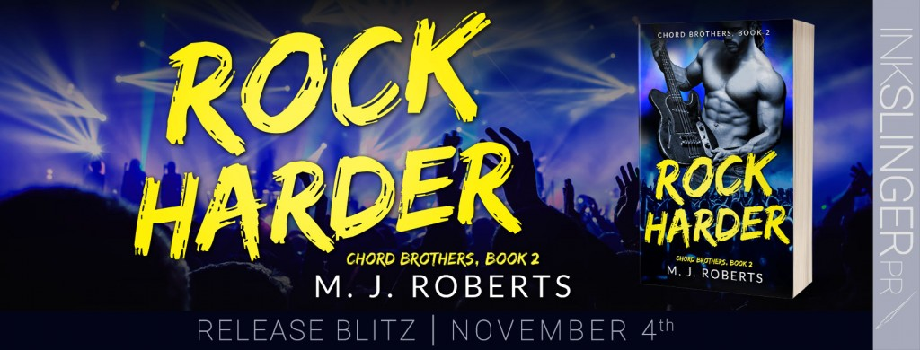 Rock Harder, M.J. Roberts, Blue, Stage, Silhouettes, Yellow Letters, Book Cover