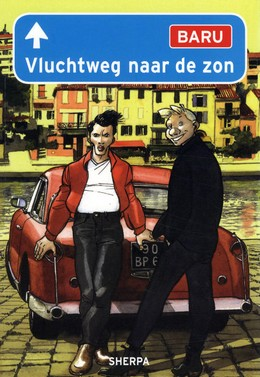 Vluchtweg naar de zon, Baru, Scenery, Houses, Car, Two Guys, Blonde Hair, Black Hair, Road Sign, Road